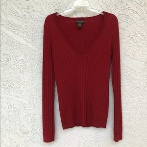 Banana Republic Factory Red V Neck Knit Sweater
